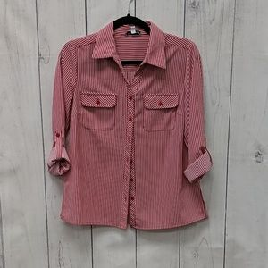 Notations Petite Red Button Up Summer Blouse